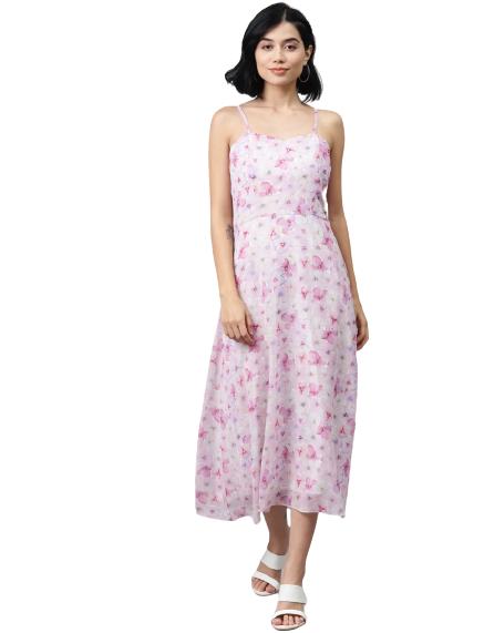 Sassafras women pink&off-white floral print smocked A-line dress at just Rs. 679