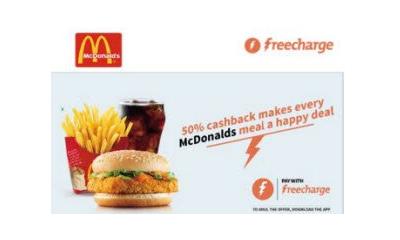 50% Cashback at McDonalds Via Freecharge Wallet