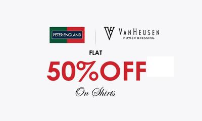 50% Off on  Peter England, Van Heusen Men's Shirts