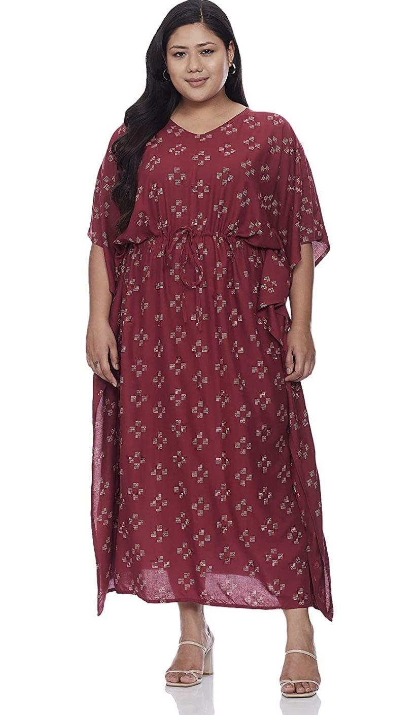 Myblush Rayon kaftan casual dress at just Rs. 849