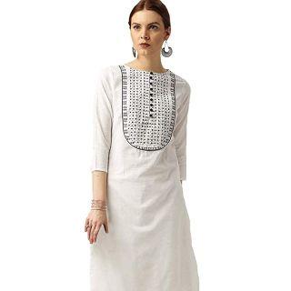 Flat 70% off on Amayra Women's Cotton Straight Embroidery Kurti