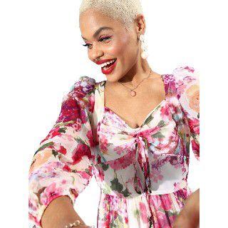 Athena White & Pink Floral Chiffon Midi Dress