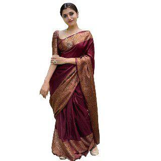 Avantika Fashion Women's Solid KanjivaramSilk Saree