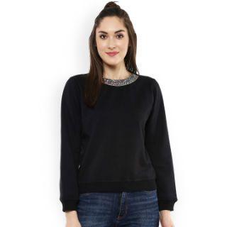54% Off on Black Fleece Sweatshirt with Embellished Detail