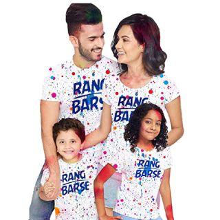Flat 35% off on Bon Organik Rang Barse Holi Tshirts Family