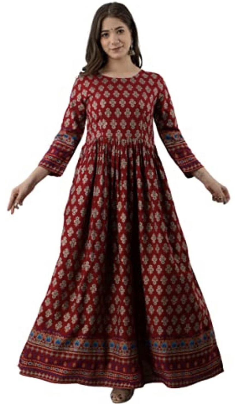 Now get ORIO Women's Rayon Floral Printed Anarkali Kurta/Anarkali Kurtis for Women Under 500