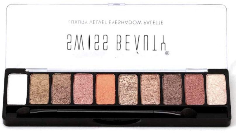 Swiss Beauty Luxury Velvet Eyeshadow Palette, Eye MakeUp, Multicolor-1 at just Rs.329