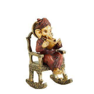 Home Centre Polyresin Alpana Ganesha Sitting On Chair Figurine