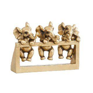 Home Centre Polyresin Jaguar Baby Elephant On Stand Figurine, Standard