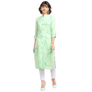 NAINVISH Women Light Green Cotton Straight Kurti with Pant