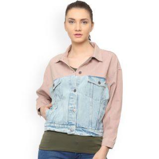People Women Blue Colourblocked Denim Jacket