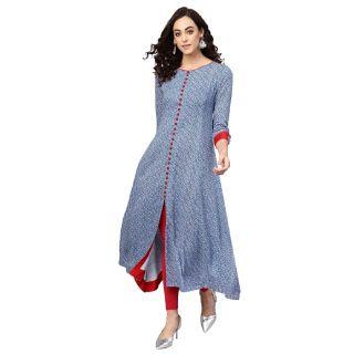 Get 84% off on Yash Gallery Women Rayon Geometric Print A-Line Kurta (Blue)