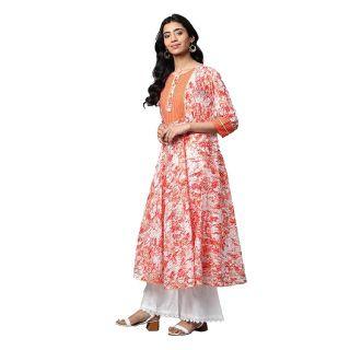 Save 67% off on Women's Cotton Tie & Dye Printed Anarkali Kurta (Orange)