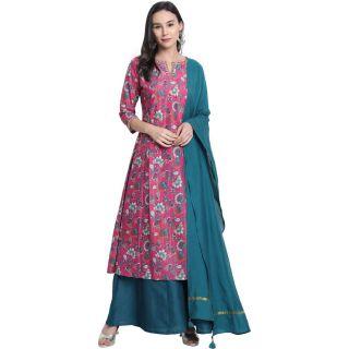Flat 68% off on Women Kurta, Pyjama & Dupatta Set Polyester