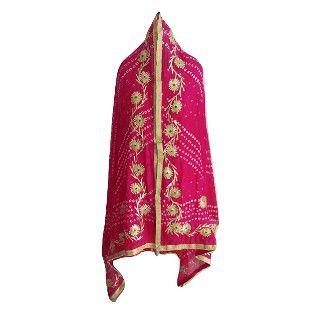 60% Off on SNEH Women's Jaipuri Bandhani Bandhej Pink Dupatta