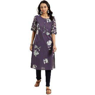 Sangria Women Purple & White Cotton Straight Kurta
