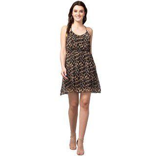 HIRA Collections Leopard Print Short Cami Dress
