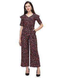 Serein Women's Jumpsuit (Multicolored Floral Printed Crepe Jumpsuit