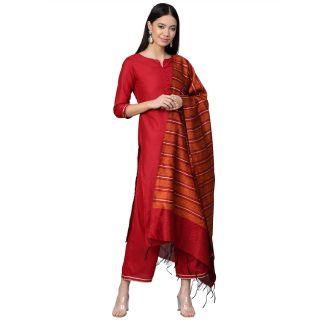 Save 72% on INDO ERA Women's Silk Blend  Kurta Palazzo With Dupatta