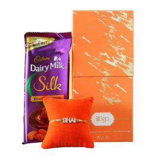 Get Upto 15% discount on Stone Bhai Rakhi with Cadbury Chocolate Gift Box