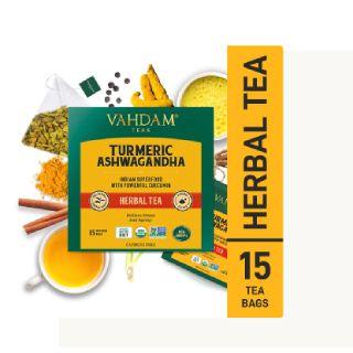 Turmeric Ashwagandha Herbal Tea Tisane - 15 Tea Bags