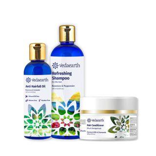 Vedaearth Refreshing Hair Care Trio (Refreshing Shampoo + Hair Conditioner + Anti-Hairfall oil)