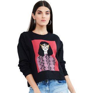 Max Women Black & Pink Printed Pure Cotton Sweatshirt