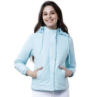Tokyo Talkies Women Blue Solid Padded Jacket