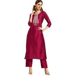 Flat 60% off on Varanga Women Magenta Pink Embroidered Kurta with Trousers