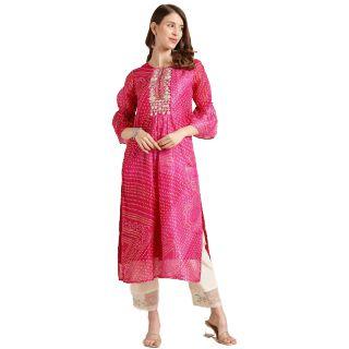Save 72% on Women Printed Pure Cotton Straight Kurta  (Pink)