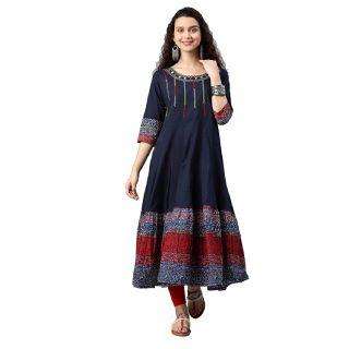 Get 68% off Yash Gallery Women's Cotton Anarkali Kurta