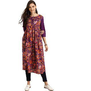 Sangria Women Purple & Orange Ethnic Kurta