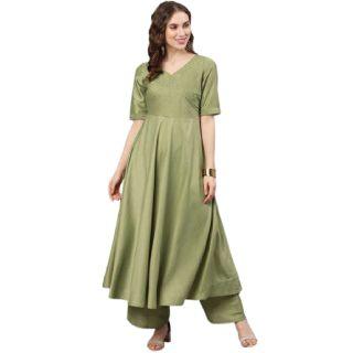 Get 54% off on Women Solid Silk Blend Anarkali Kurta  (Green)