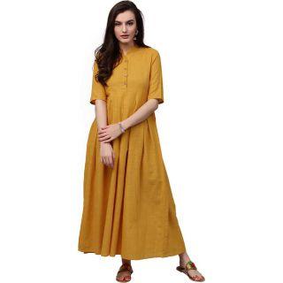 Get 50% off on Aks  Women Maxi Yellow Dress