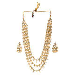 Zaveri Pearls Multi Layered Long Kundan & Dangling Pearls Necklace Set at Rs.755
