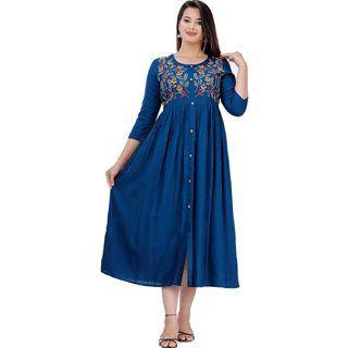 Flat 66% Off on DMP FASHION Women's Rayon Embroidery Work Flared Kurti