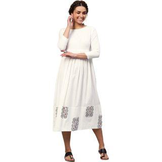 Flat 55% off on SASSAFRAS Women White Printed Detail Empire Dress