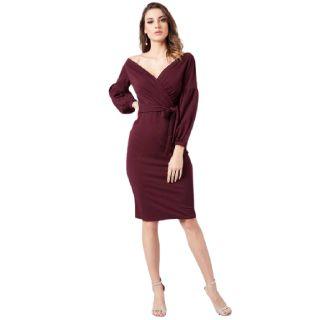 Get 57% off on Athena  Women Bodycon Maroon Dress