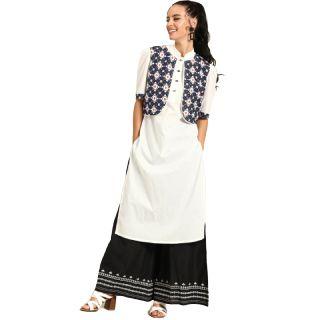 Save 72% on Nayo Women White & Navy Blue Solid Straight Kurta With Ethnic Jacket