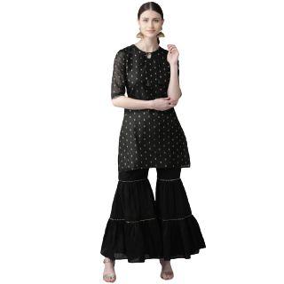 Get  63% off on Bhama Couture Women Black & Golden Woven Design Kurta with Sharara
