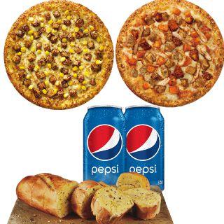 Pizza Feast Non Veg - 2 Medium Pizza + 2(Garlic Bread + Pepsi) at Rs.849