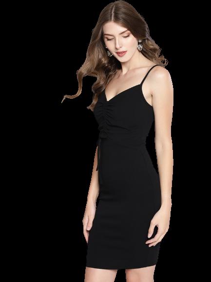 Veni Vidi Vici Black Ruched Bodycon Dress