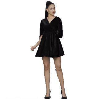 DARZI  Women Wrap Black Dress at Rs.474