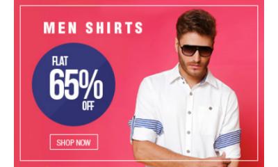 Flat 65% Off On Men's Shirts