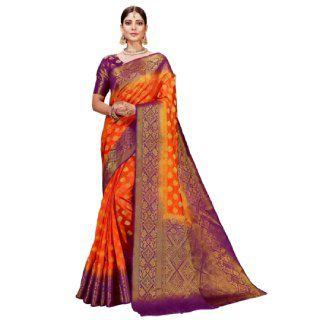 Flat 71% off on Kanooda Prints  Printed Bollywood Poly Silk Saree
