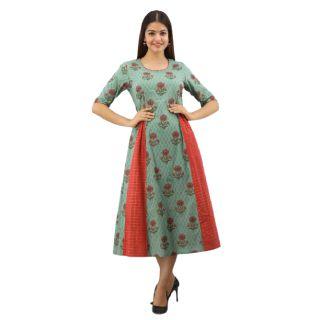 Get 66% off on Women Gulmohar Jaipur Floral Print Cotton Blend Flared Kurta  (Light Green)