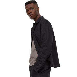 Flat 40% off on H&M Men Black Linen Shirt Jacket