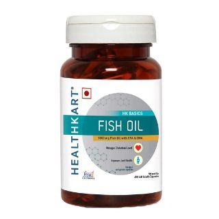 Flat 50% off on HealthKart Fish Oil 1000mg with 180mg EPA and 120mg DHA, 60 capsules