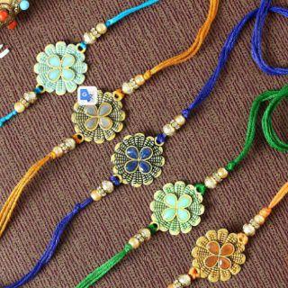 IGP Flower Rakhi with Stone & Meena Work set of 5
