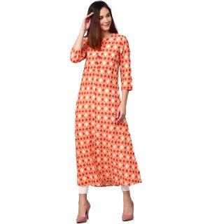 Get Flat 78% off on Jaipur Kurti Women Orange Printed A-Line Kurta